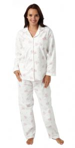 Ladies Floral 100% Cotton Wincey Pyjamas Pink on Cream 12 - 26
